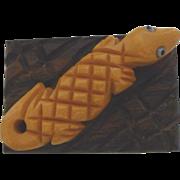 Vintage Bakelite and Wood Alligator on a Log Pin Brooch