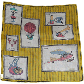 Vintage Inventions Picture Hanky Handkerchief Mint w Tag Yellow