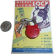 Mint Original Card Vintage Mini Red Lock Bison For Mail Box Cash Box Luggage Purse Great Graphics!