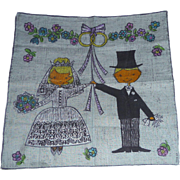 Fabulous Vintage Wedding Hanky Hankie Handkerchief Bride & Groom