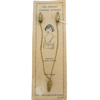 NOS Victorian Lingerie Slip / Bra Support Clips Mint Original Card