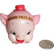 Rare Celluloid Roly Poly Pink Porky Pig with Hat Tape Measure Niagara Falls New York Souvenir nMint 1940s