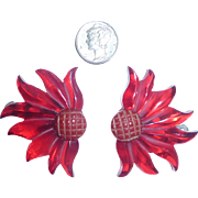 2 Gorgeous Red Prystal Bakelite Flower Floral Dress Clip Pair