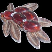 Great Wood & Bakelite Leaf & Fruit Pin Brooch