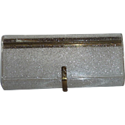 Reserved for Cynthia: 1950's Vintage Wilardy Lucite Speckled Gold Glitter Confetti Clutch Bag Purse