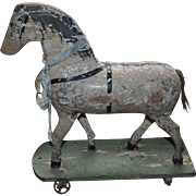 Stunning circa 1900 Primitive Childs Wooden Toy Horse