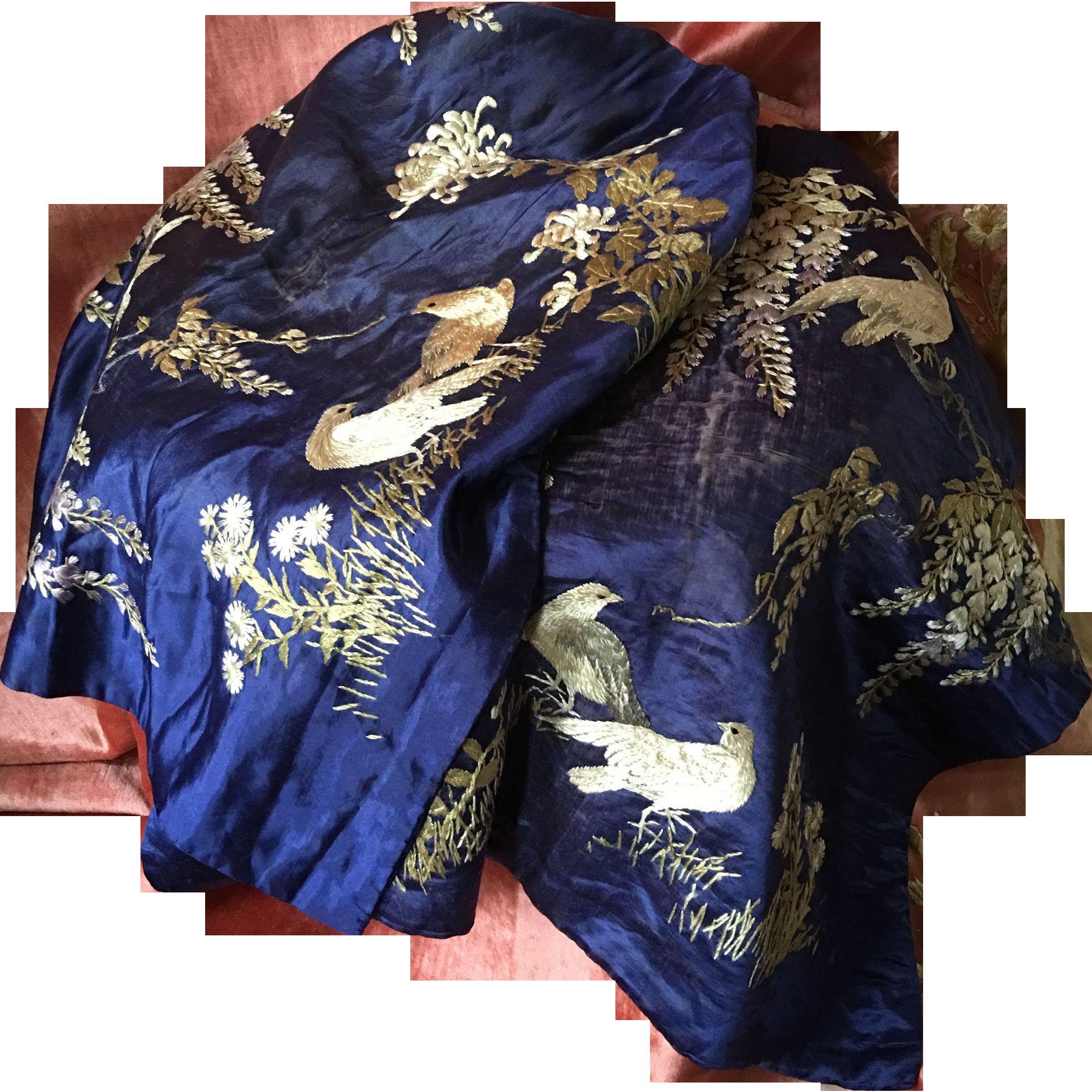 Stunning pair of Midnight Blue Silk Chinese Embroidered Panels circa 1900