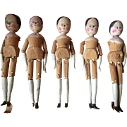 An unusual Collection of five  late 19th century large (17 in) Wooden Grodner Tal Folk Art Dolls