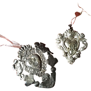 Two Gorgeous and Decorative silver metal Ex Voto hearts with Cherubs