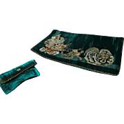 Turquoise Silk Velvet & Embroidered clutch bag with purse circa 1920's