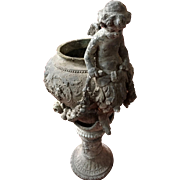 Exquisite Cherub Metal Planter late 19th early 20th century