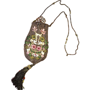 Edwardian embroidered evening bag circa 1900