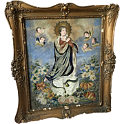 19th century Hand Painted and Embroidered Religious Picture in original frame