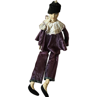 Original Large 1920's Pierrot Boudoir Doll (Poupee de Salon)