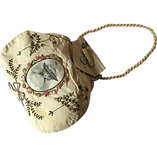 19th century Embroidered ribbon work Reticule with vignette