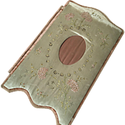 Desk Folder, French Silk with Embroidery -  circa 1900