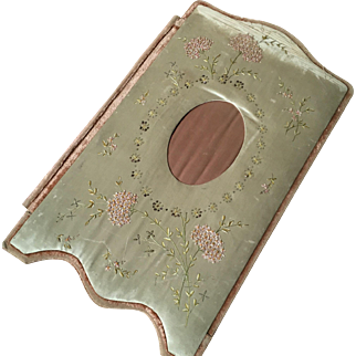 French Silk & Embroidered desk folder circa 1900