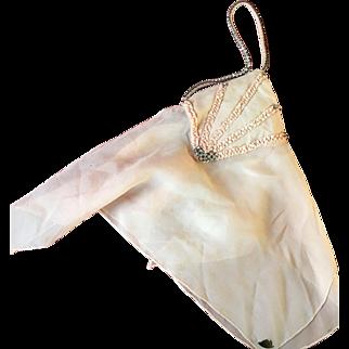 Circa 1920's Handkerchief & Rhinestone Evening bag with original label
