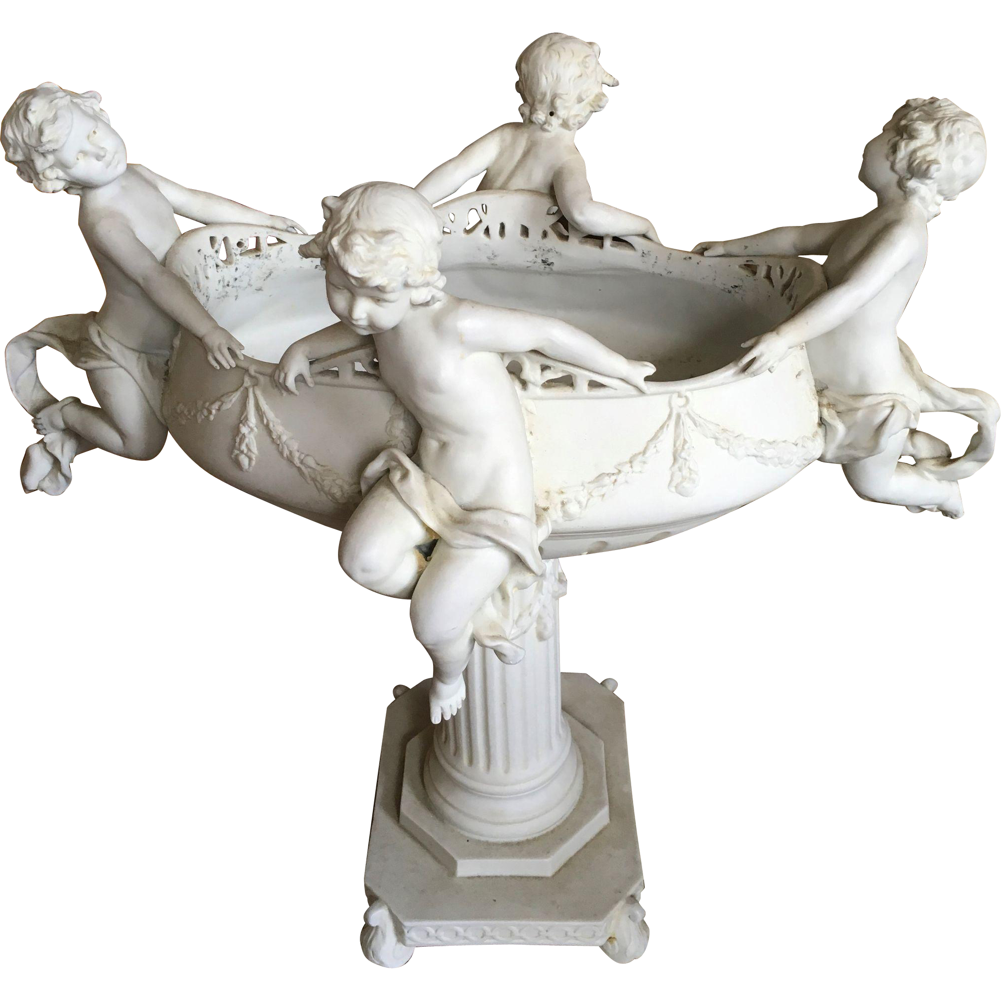 Parian Ware Compote with four Cherubs
