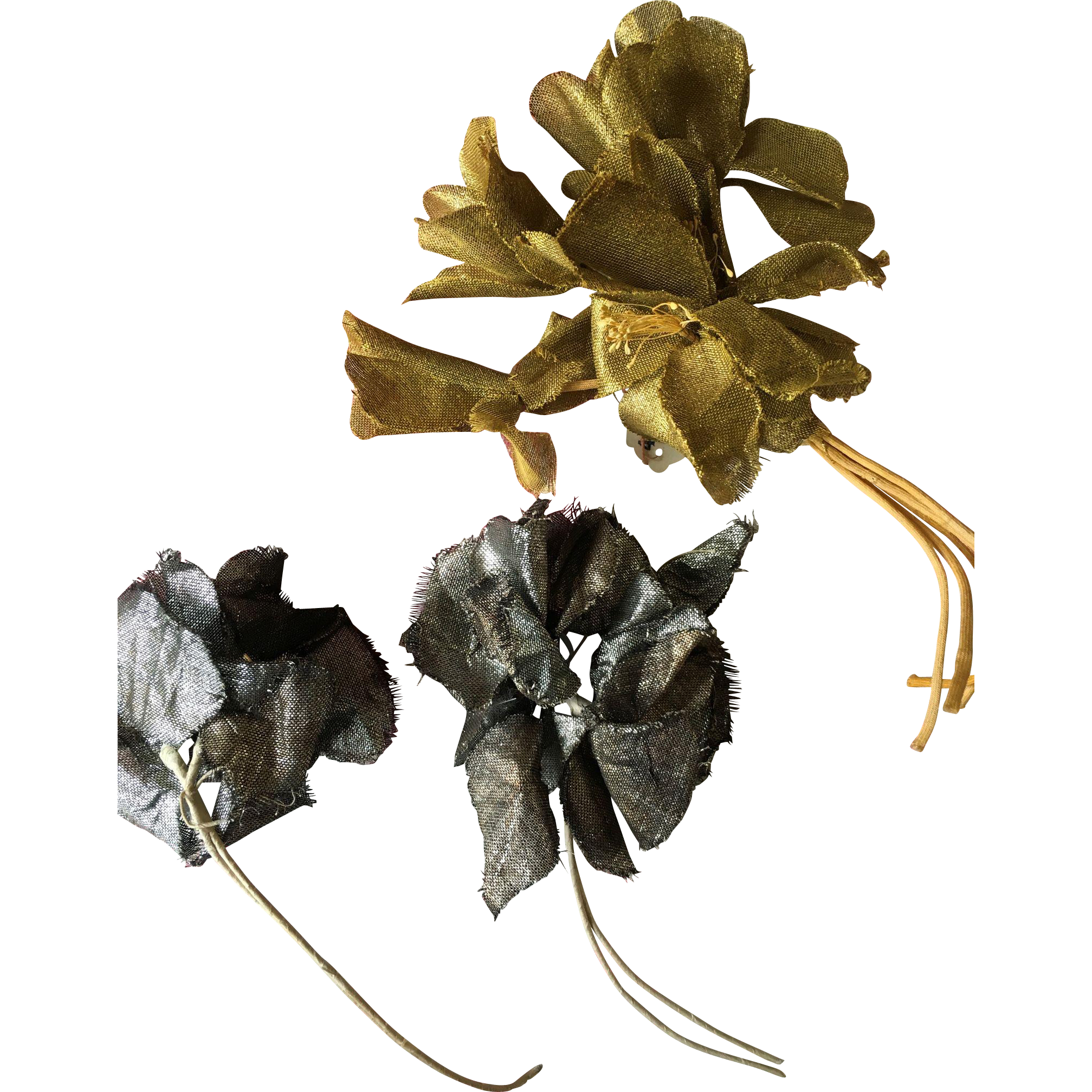 Gold and Silver Lamé millinery flowers circa 1930's