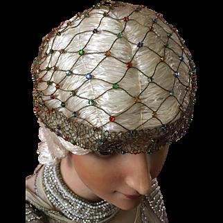 Original 1920's coloured paste stone head dress