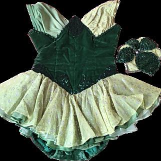 Circa 1930's Silk Velvet and Chiffon showgirl costume