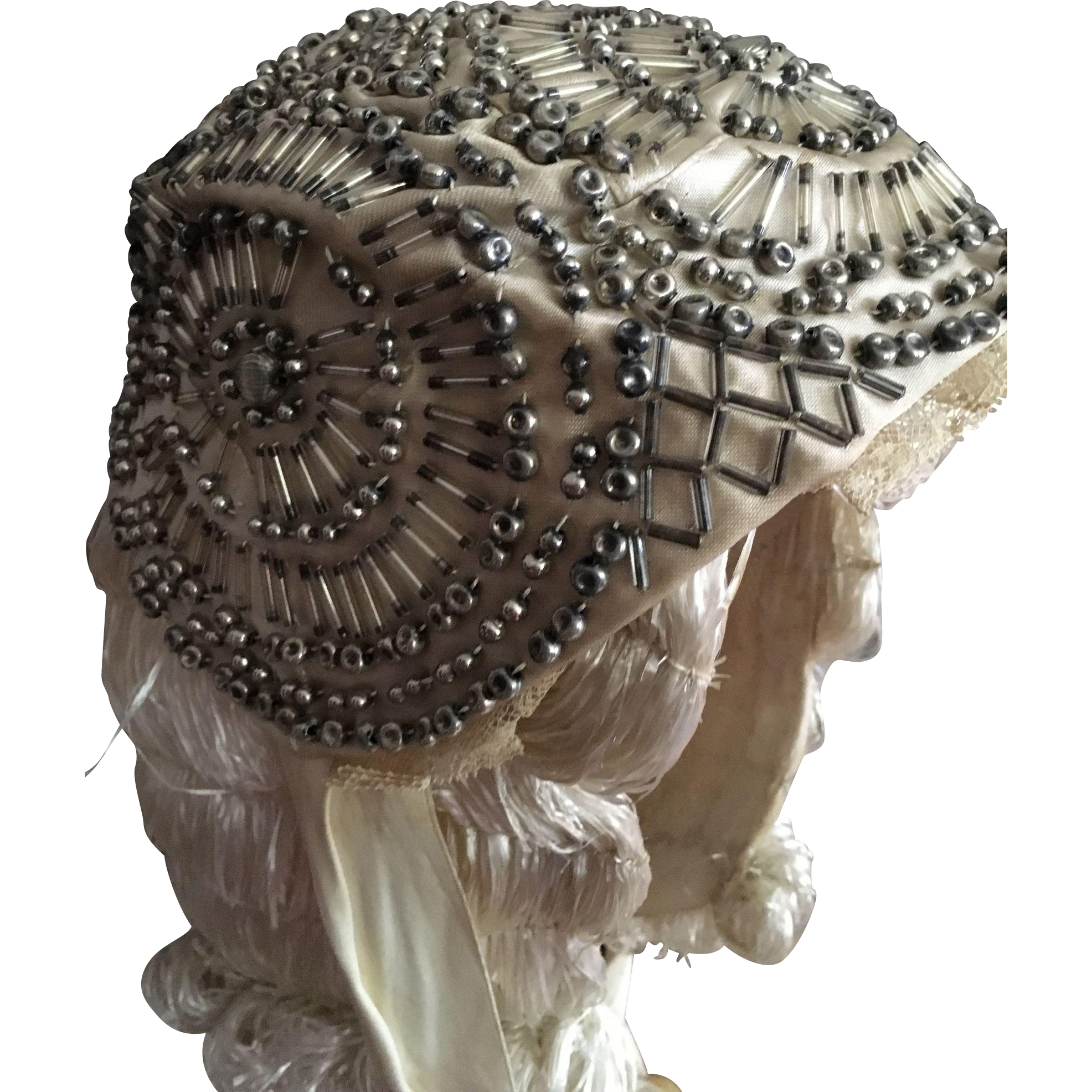 Original 1920's Beaded Wedding cap with silk ribbon ties.