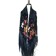 Original 1920's Silk Devoré Shawl with fringing