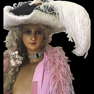 Edwardian Ladies Tricorn Beaver fur felt hat with Ostrich plumes