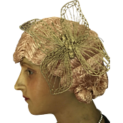 1920's Original Flapper Raffia Cloche Wig with Butterfly detail