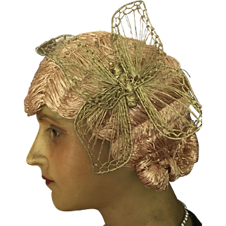 1920's Original Flapper Raffia Cloche Wig with Butterfly detail