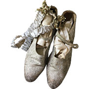 Silver Lamé Wedding Shoes with silk Garters and Stockings Circa 1920's