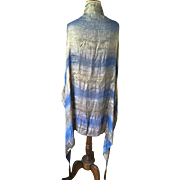 Lamé Shawl - Blue and Gold with Bullion Tassels, circa 1930's