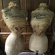 Pair of Antique Corset Display Mannequins 'American Lady' & 'JCC Corsets' Very rare