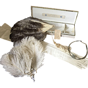Debutante Court Presentation Head dress, Feathers, Fan, Dance Card and Kid Leather Gloves - Original 1920's