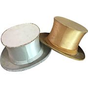 A Pair of Weimar Cabaret Collapsible Silk Top Hats circa 1920's