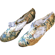 Chinese Silk Shoes - 1920's with Rhinestone Heels
