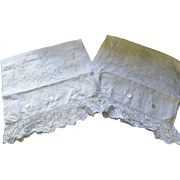 Edwardian White Work Pillowcases - A Pair in Fine Lawn Cotton with Monograms and Lace Trim