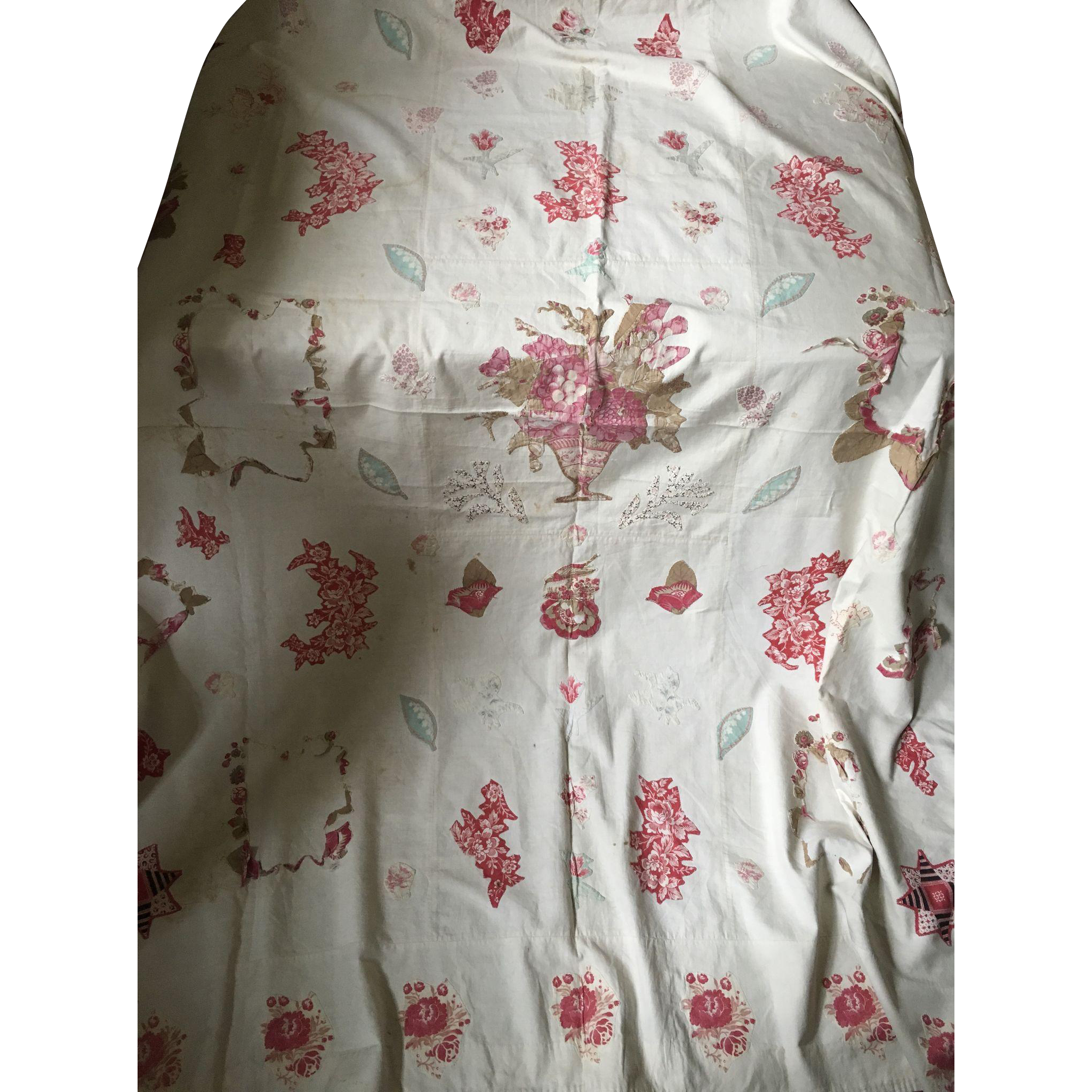Broderie Perse Quilt Top - 19th Century for study or restoration