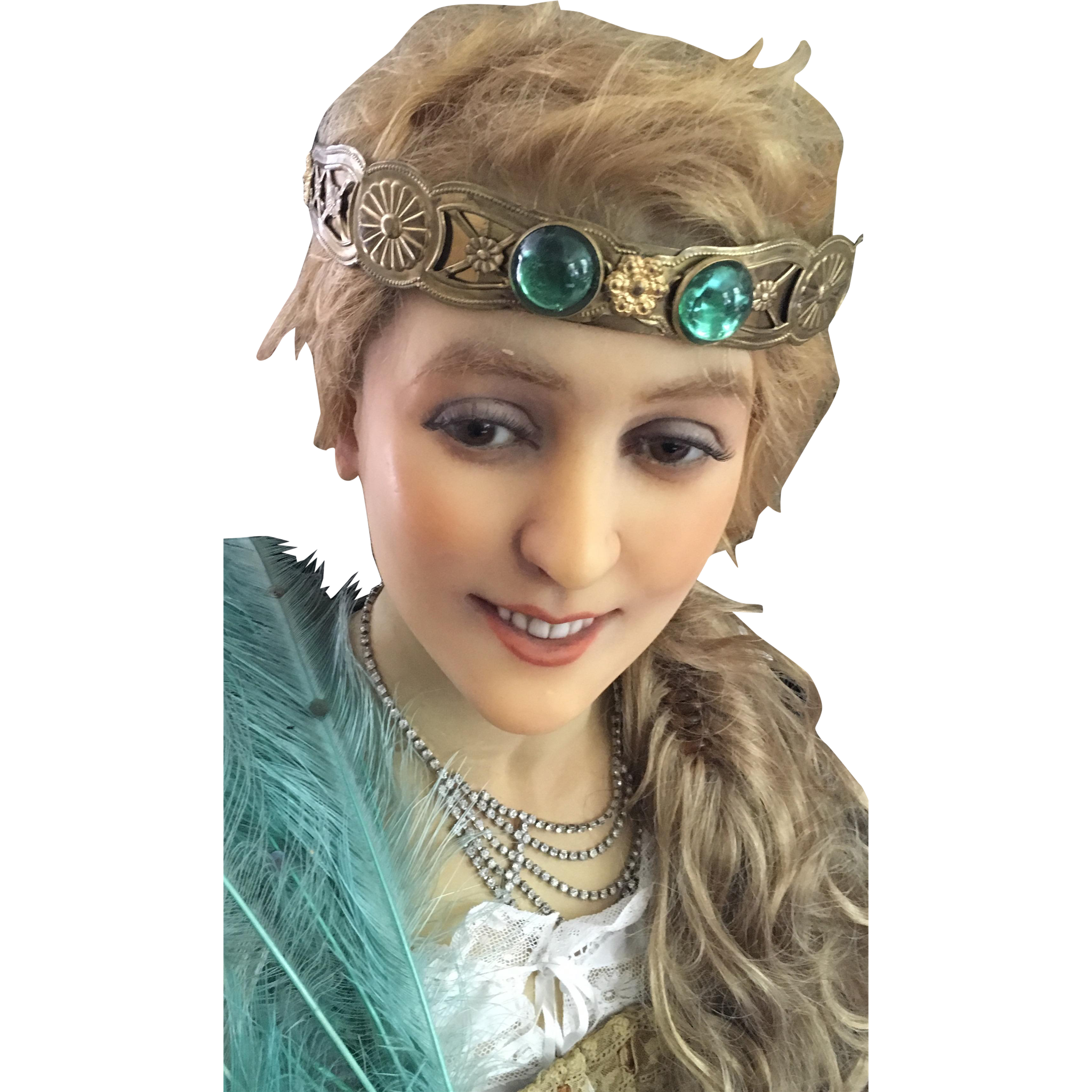 1920's Gold Headband - inset with Two large Green Glass Cabochons