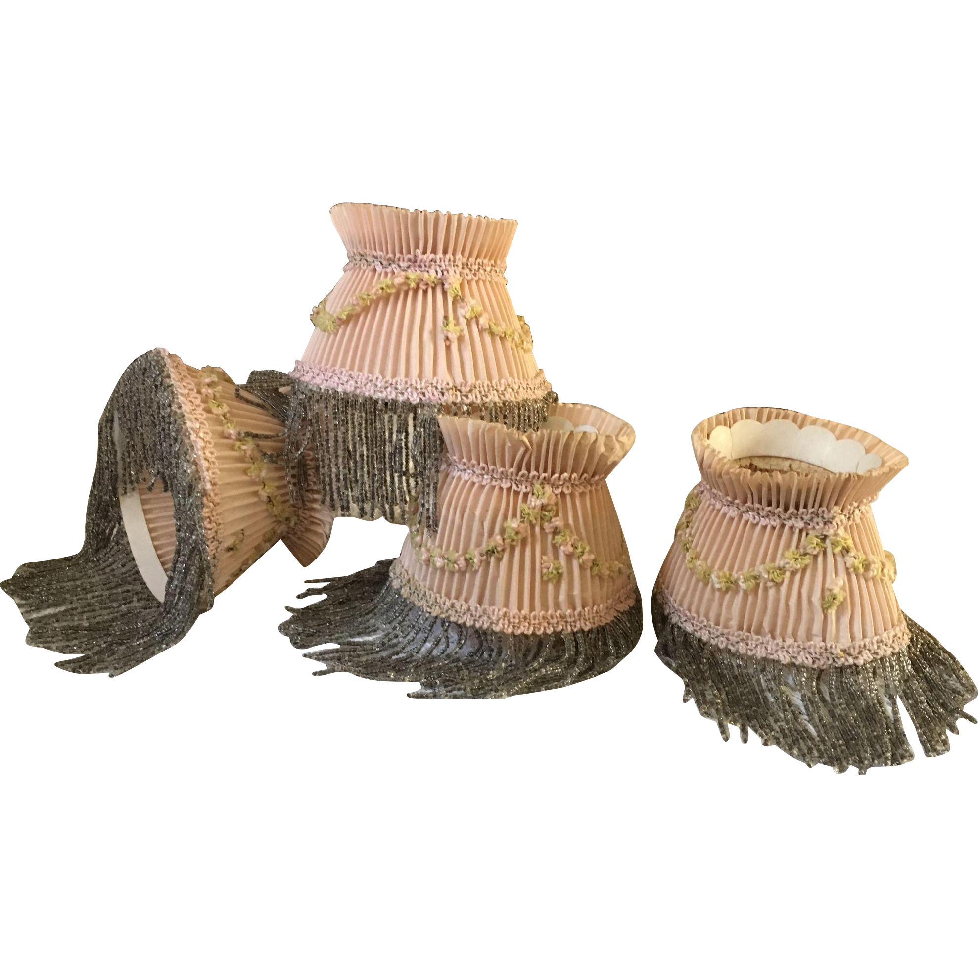 Boudoir Candle Lampshades - Four in Pink with Beaded Fringe - Circa 1920's