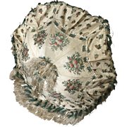 Folding Carriage Parasol - Victorian Silk Brocade - Circa 1860's