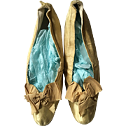 Yellow Silk Shoes with Silk Bows - late 19th Century