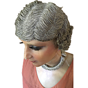 Metallic Cloche Wig with Rhinestones - Circa 1920's