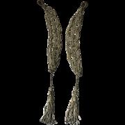 Silver Metallic Thread and Seed Pearl Tasseled Appliqués - Edwardian Circa 1910
