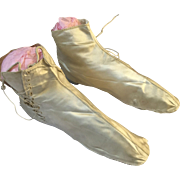 Straight Wedding Boots, Cream Silk - Circa 1860's