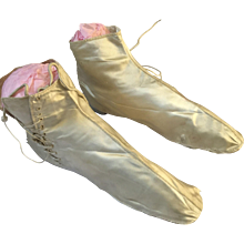 Straight Wedding Boots, Cream Silk - Circa 1860's - Red Tag Sale Item