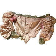 Corseted Bodice, Pink Silk & Silver Metallic Lace - circa 1890's