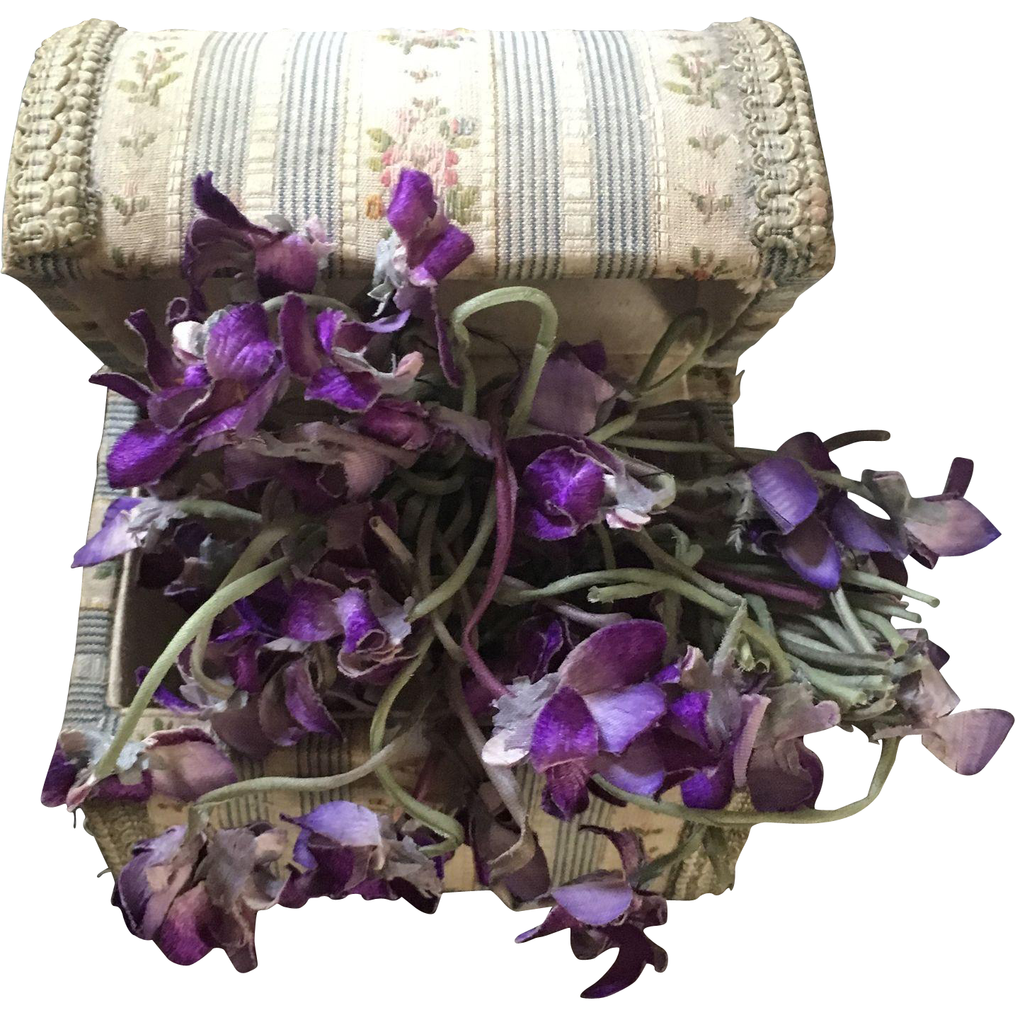 French Fabric Box filled with Millinery Violets circa 1920's