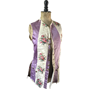 Floral and Striped Moire Silk Theatrical Waistcoat circa 1920's.